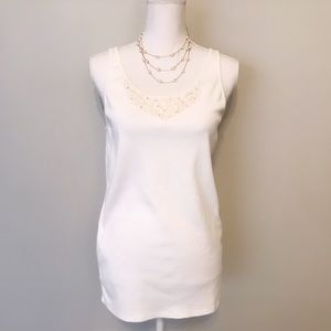 EILEEN FISHER embellished white tank top